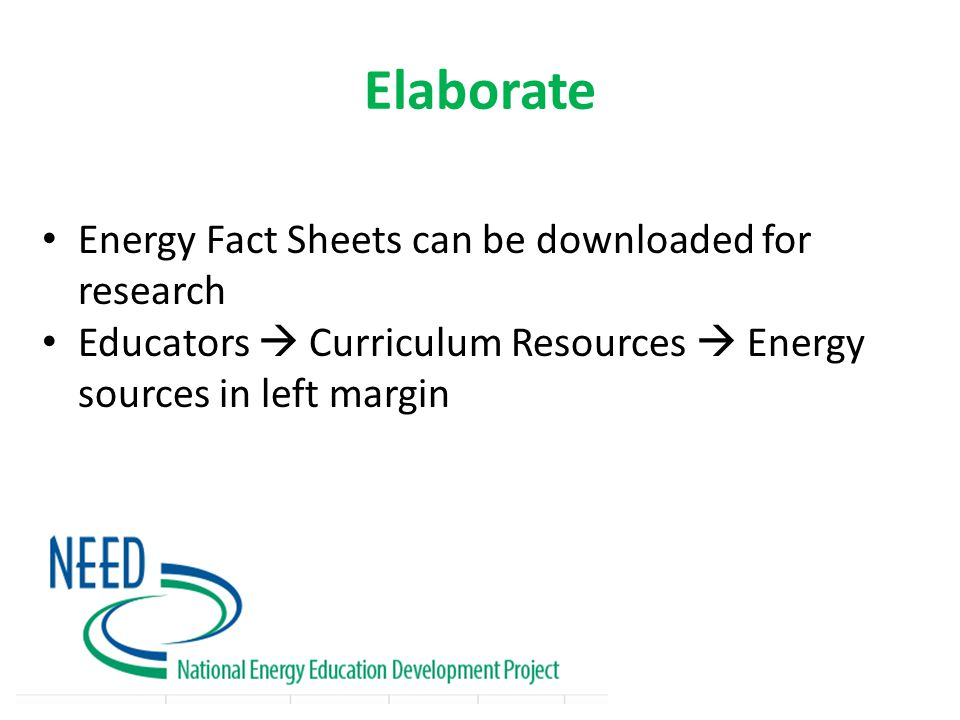 Evaluate Team energy posters or individual energy pamphlets Scoring rubric available (p 121)