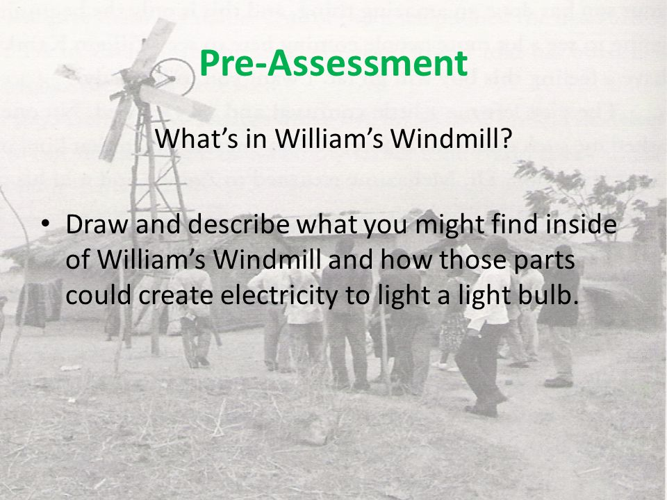 Explore Assembled torch and how it works Challenge teams to keep light bulb lit for the longest time Connect to William's Windmill What else could be used to turn the crank?