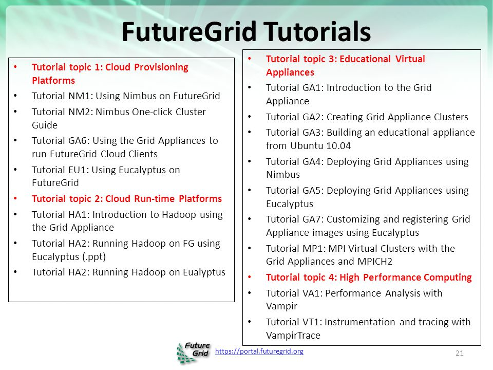 https://portal.futuregrid.org Software Components Portals including Support use FutureGrid Outreach Monitoring – INCA, Power (GreenIT) Experiment Manager: specify/workflow Image Generation and Repository Intercloud Networking ViNE Virtual Clusters built with virtual networks Performance library Rain or Runtime Adaptable InsertioN Service for images Security Authentication, Authorization, Note Software integrated across institutions and between middleware and systems Management (Google docs, Jira, Mediawiki) Note many software groups are also FG users Research Above and below Nimbus OpenStack Eucalyptus