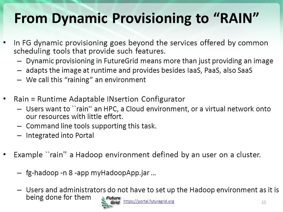 https://portal.futuregrid.org FG RAIN Command fg-rain –h hostfile –iaas nimbus –image img fg-rain –h hostfile –paas hadoop … fg-rain –h hostfile –paas dryad … fg-rain –h hostfile –gaas gLite … fg-rain –h hostfile –image img Authorization is required to use fg-rain without virtualization.