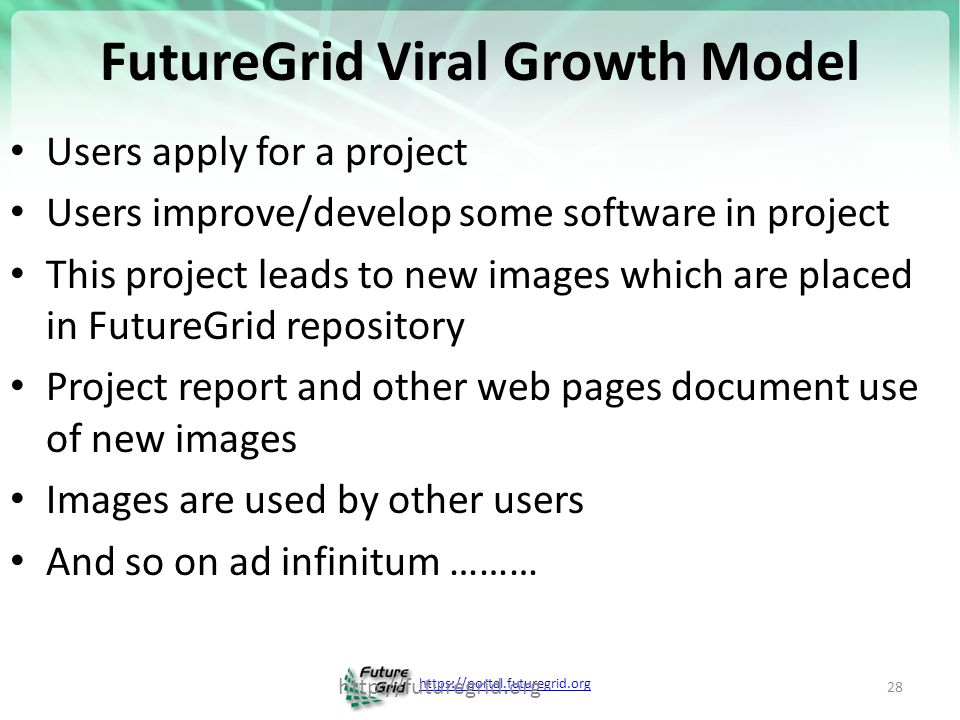 https://portal.futuregrid.org Create a Portal Account and apply for a Project 29
