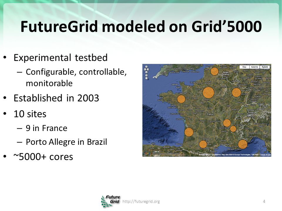 https://portal.futuregrid.org FutureGrid key Concepts II FutureGrid has a complementary focus to both the Open Science Grid and the other parts of TeraGrid.