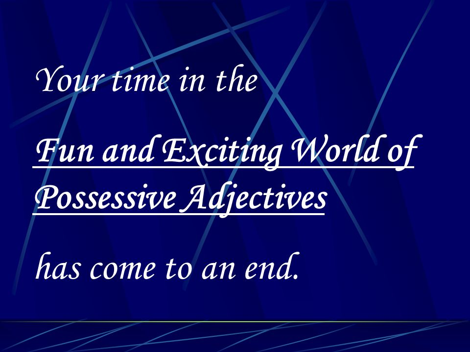 Your time in the Fun and Exciting World of Possessive Adjectives has come to an end.