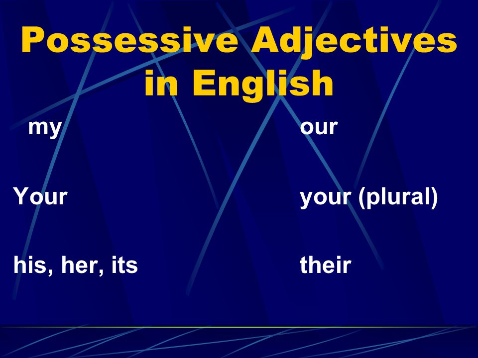 Possessive Adjectives in English myour Youryour (plural) his, her, itstheir