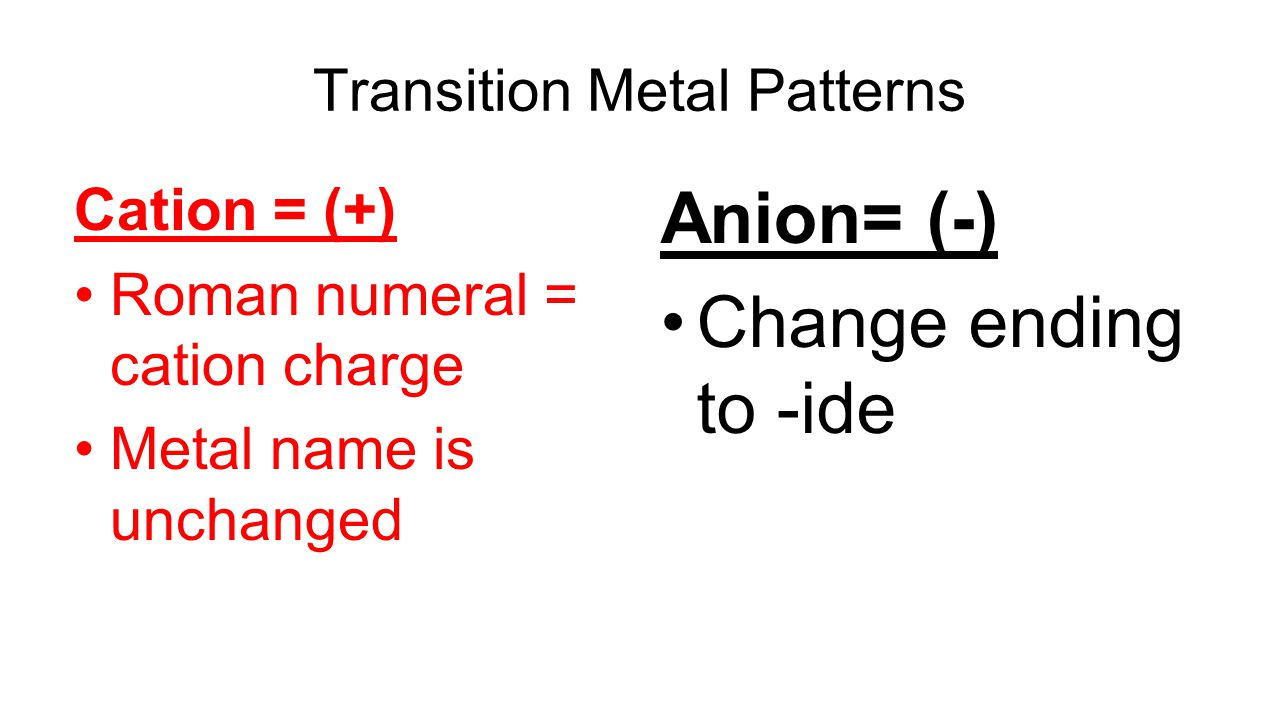 Polyatomic Ions Find the 6 cards that contain more than two elements Red = cation Black = anion