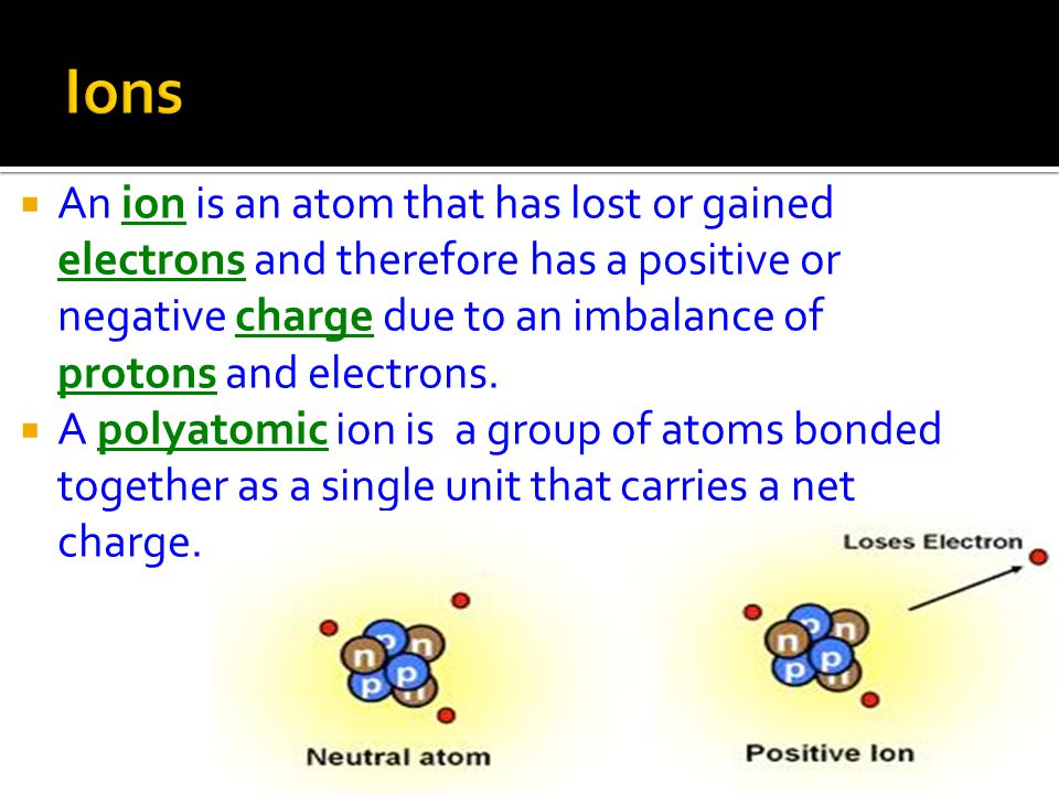  An ion is an atom that has lost or gained electrons and therefore has a positive or negative charge due to an imbalance of protons and electrons.