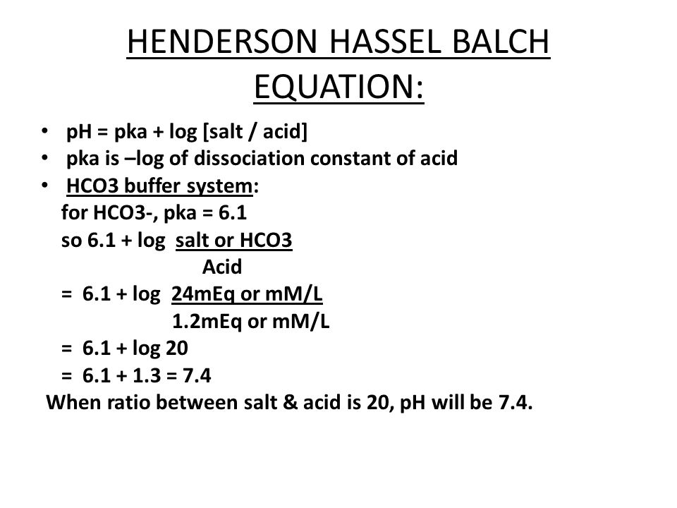 PO4 BUFFER IN BLOOD: SALT= Na2HPO4 ACID= NaH2PO4 Ratio=salt/acid = 4/1 Pka of H3PO4 = 6.8