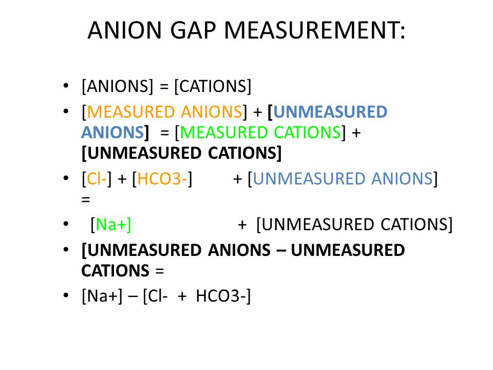 ANIONS OTHER THAN HCO3 & Cl: Protein anions, PO4, SO4 & LACTATE.