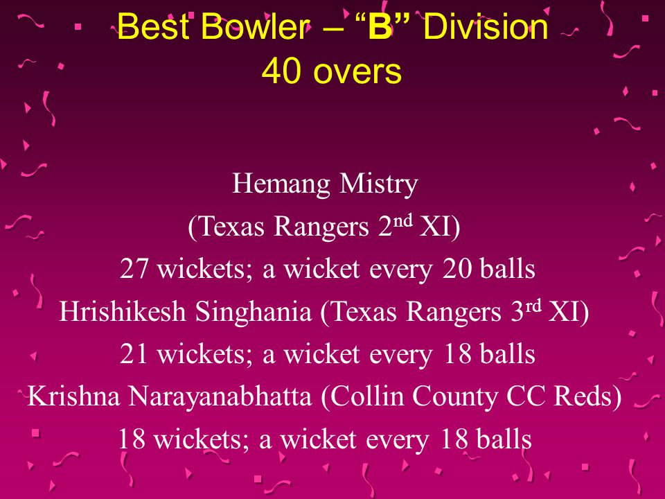 Best Bowler – A Division 40 overs Afzal Hussain (NorTex CC) 29 wickets; a wicket every 16 balls Asif Rafique (Eagles CC) 25 wickets; a wicket every 20 balls Ayaz Sheikh (United CC) 23 wickets; a wicket every 20 balls