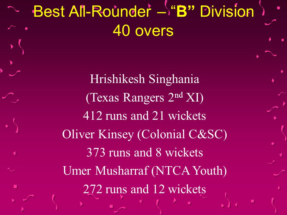 Best All-Rounder – A Division 40 overs Ayaz Sheikh (United CC) 585 runs and 22 wickets Tanvir Asad (Outrageous CC) 600 runs and 16 wickets Amer Sheikh (NorTex CC) 408 runs and 18 wickets