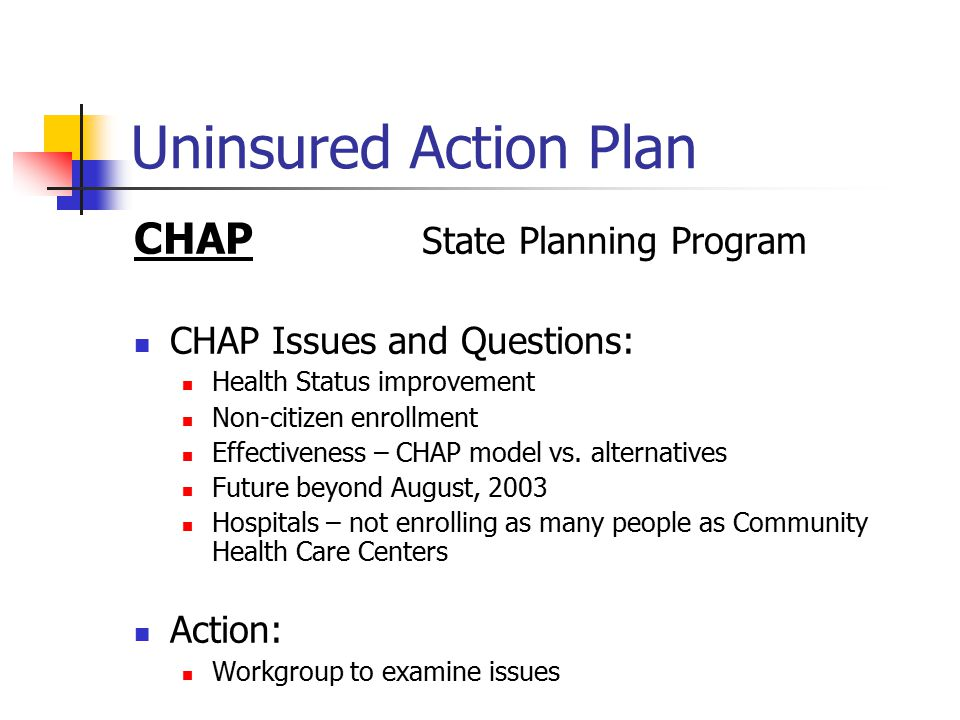 Uninsured Action Plan CHAP State Planning Program Issues and Questions: Prepare options for when implementation is feasible Public Interest in pooling vs.