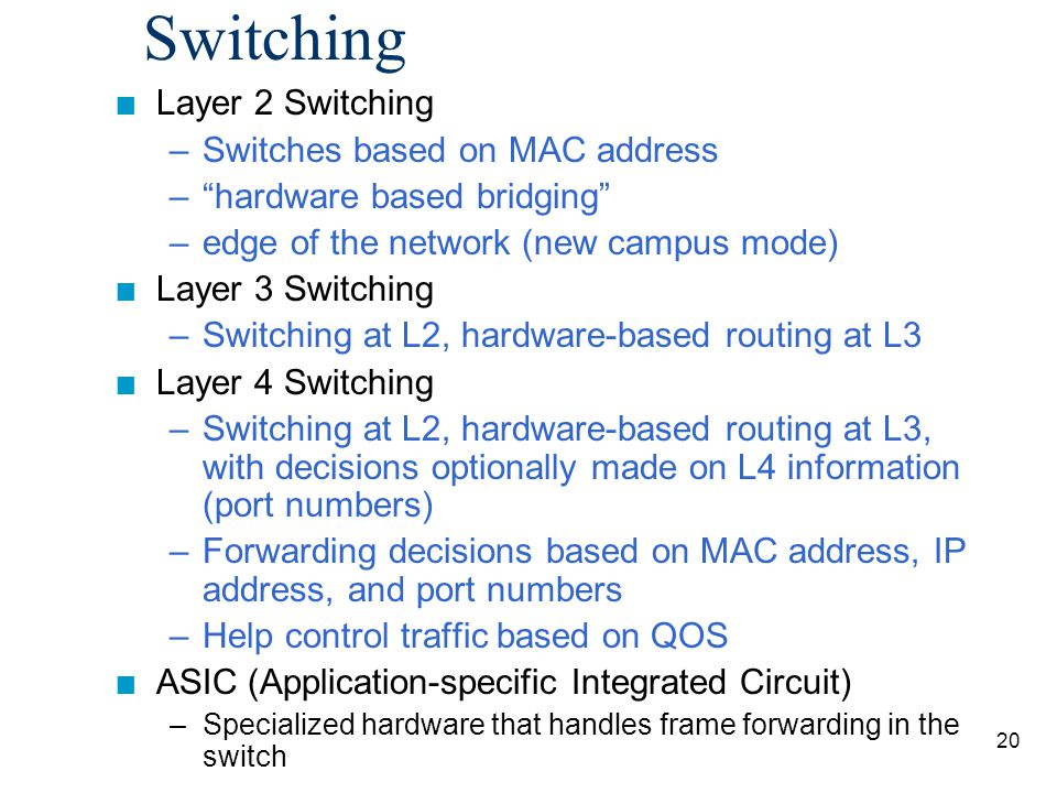 21 Router versus Switch n Router typically performs software- based packet switching (process of looking it up first in the routing tables) n Switch typically performs hardware- based frame switching (ASIC)