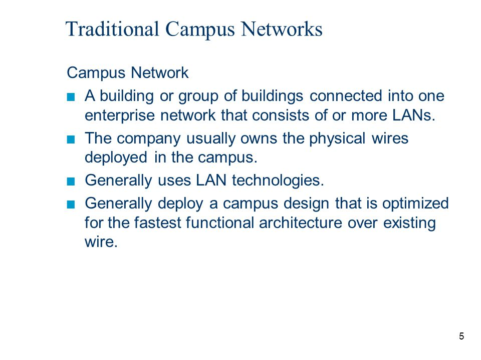 6 Traditional Campus Networks Network Administrator Challenges n LAN run effectively and efficiently n Availability and performance impacted by the amount of bandwidth in the network n Understand, implement and manage traffic flow Current Issues n Broadcasts: IP ARP requests Emerging Issues n Multicast traffic (traffic propagated to a specific group of users on a subnet), video conferencing, multimedia traffic n Security and traffic flow