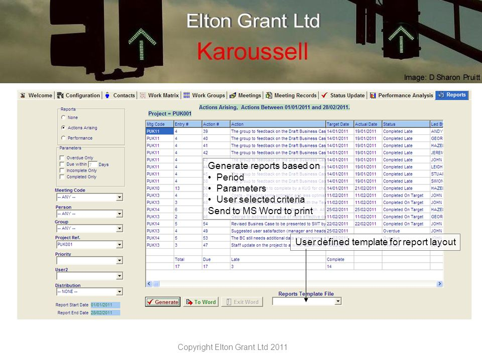 Copyright Elton Grant Ltd 2011 Performance measures based on Period Actions completed against target selected user parameters Send to MS Word to print