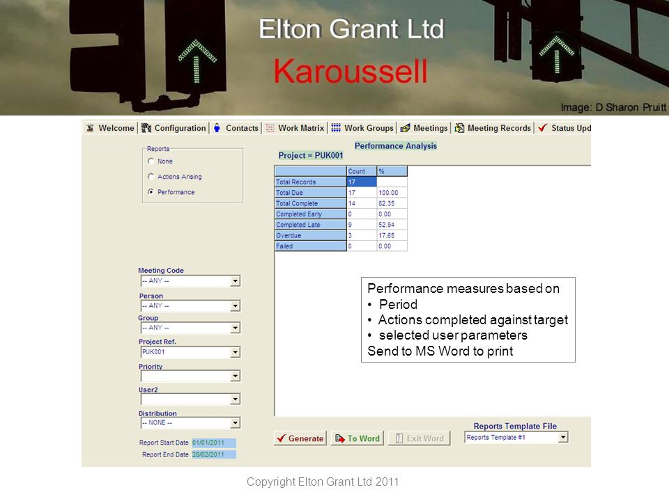 Copyright Elton Grant Ltd 2011 Karoussell Make your meetings add value – not just a hole in your day TM For more information contact: George Elton 01736529903 george@eltongrant.com www.eltongrant.com