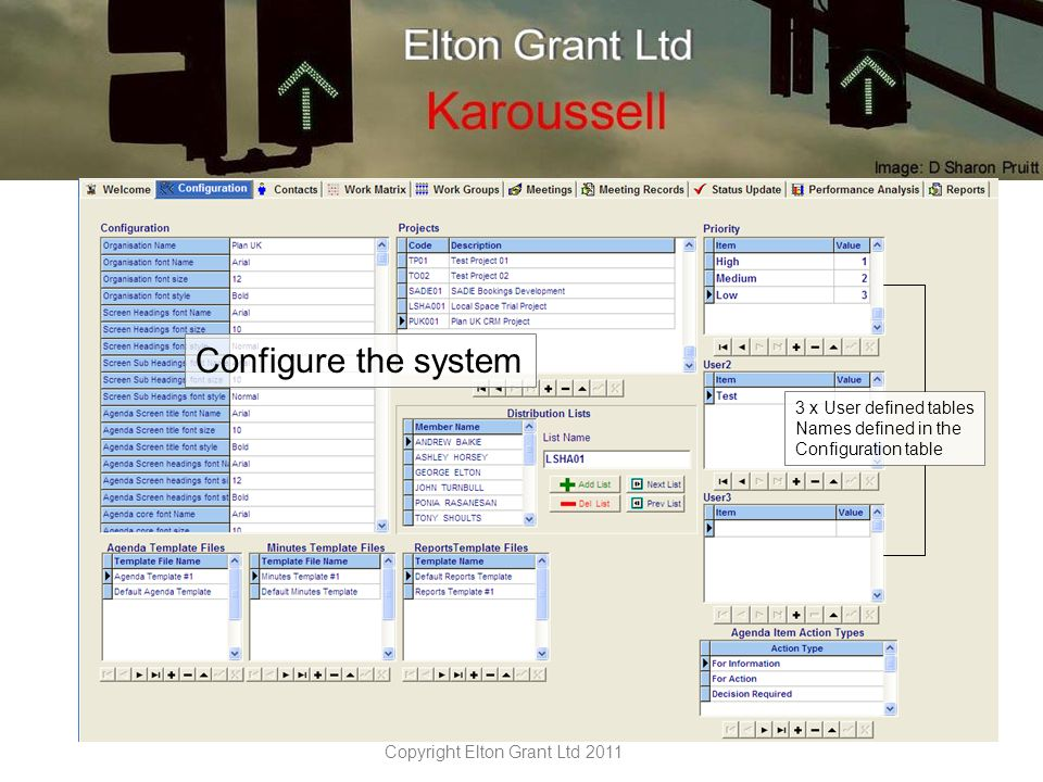 Copyright Elton Grant Ltd 2011 Contacts screen with preloaded filter to restrict entries Import bulk contacts from.csv file.