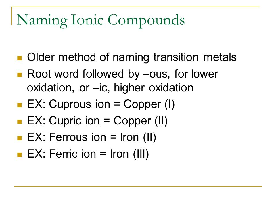 Naming Ionic Compounds Determine the cation and anion of the given formula Does the cation have only one oxidation number Write name of cation and then write name of anion Write the name of the cation followed by Roman numeral to represent the charge Next write the anion.