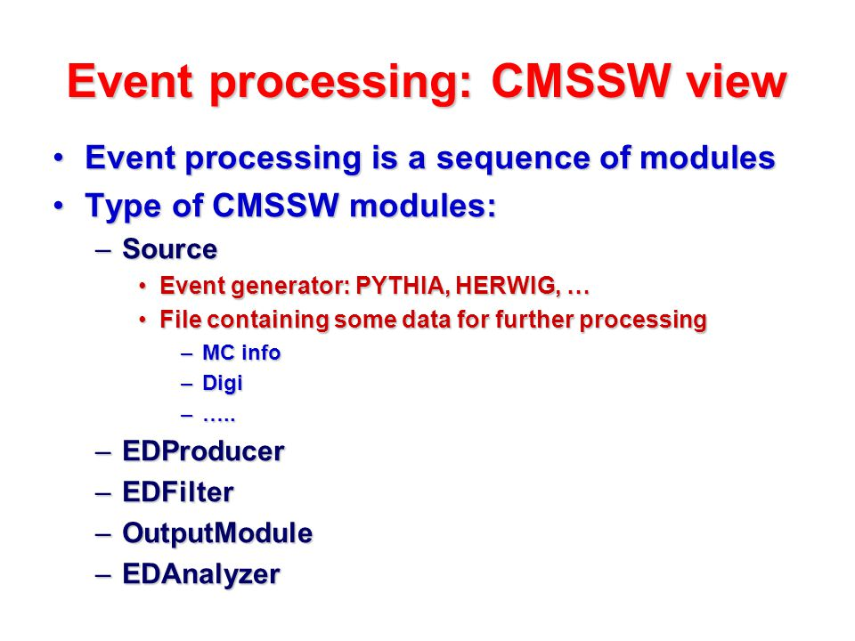 Event processing: CMSSW view Important to know one of the CMSSW rules: object produced in one module can not be updated/modified in other module