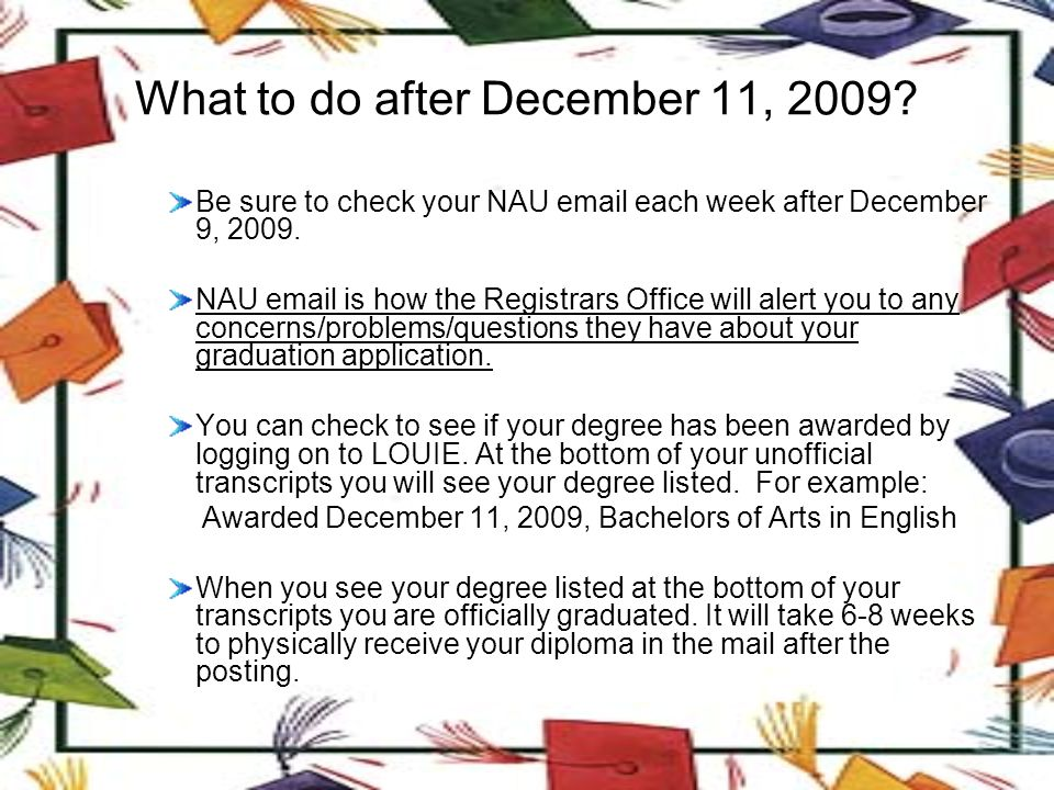 What to do after December 11, 2009.
