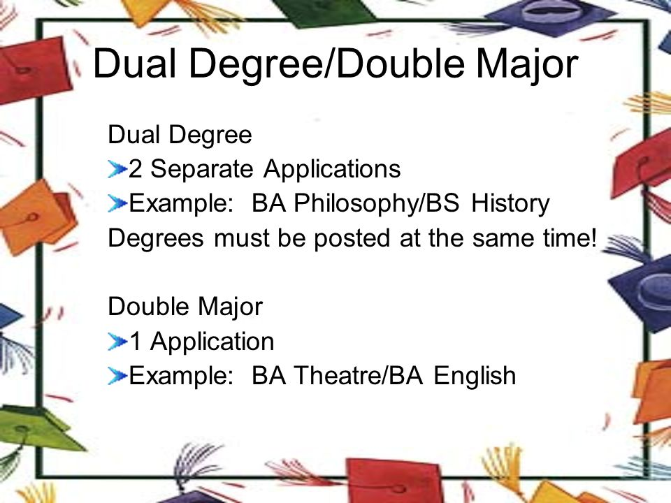 Dual Degree/Double Major Dual Degree 2 Separate Applications Example: BA Philosophy/BS History Degrees must be posted at the same time.