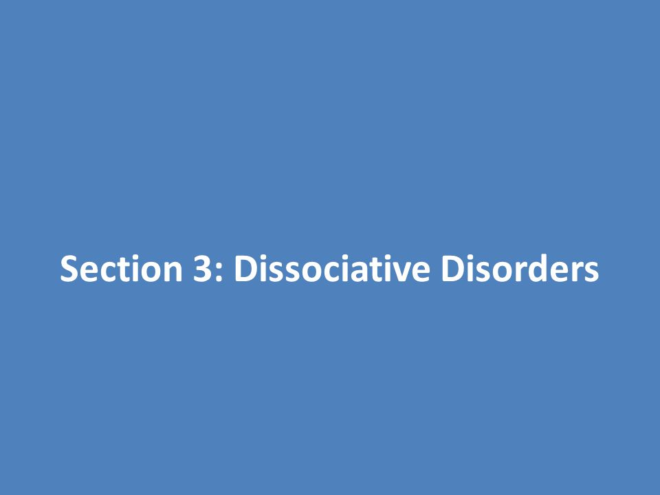 Dissociative Disorders Dissociation – separation of certain personality components / mental processes from conscious thought – Somewhat common – Becomes a disorder when used to avoid stressful events or feelings – Lose memory of an event, forget identity