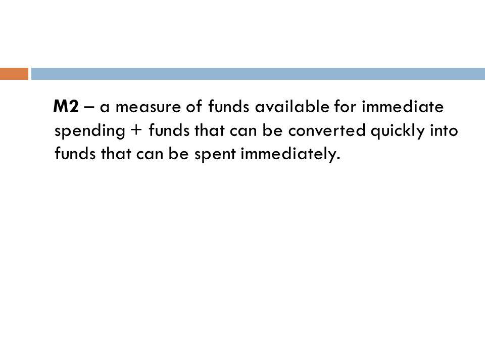 M2 = M1 + savings deposits + small-denominated time deposits + money market mutual funds