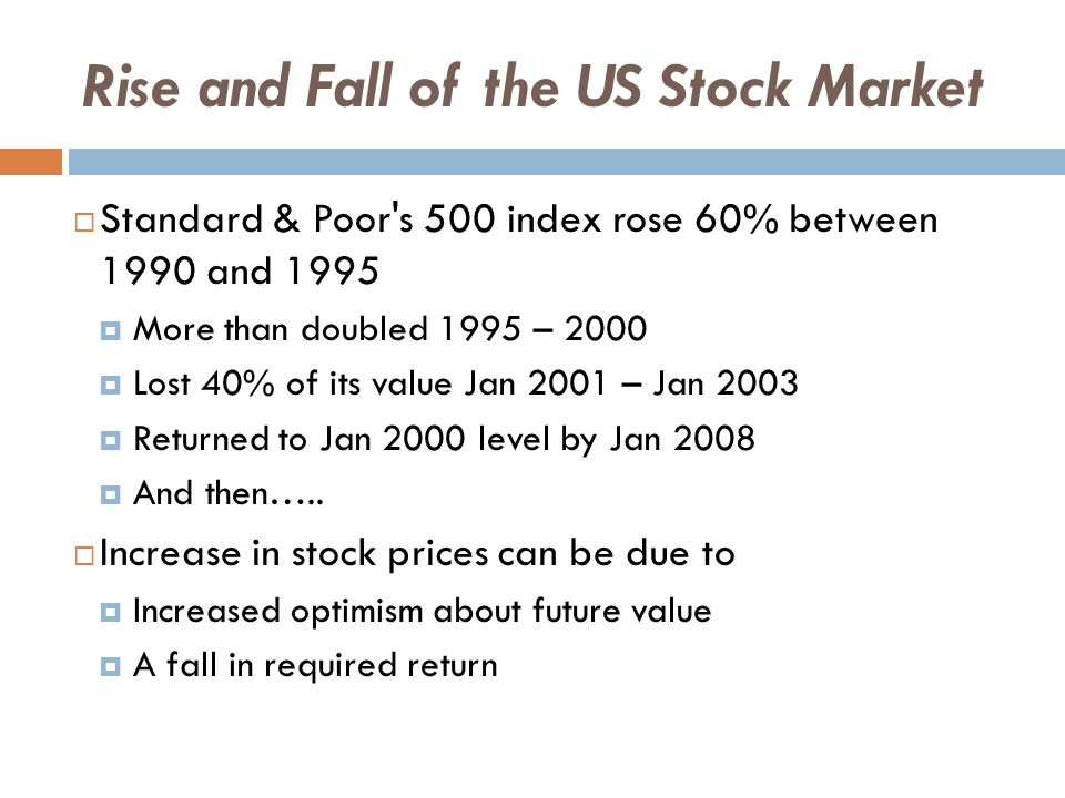 Rise and Fall of the US Stock Market  In the 1990s, optimism was high  Strong dividends  Promise of new technologies  Risk premium declined  Increased diversification through mutual funds  Investors may have underestimated risk  Optimism and risk premium trends reversed in 2000  Many high-tech firms less profitable than expected  Corporate accounting scandals of 2002  Terrorist attack in US