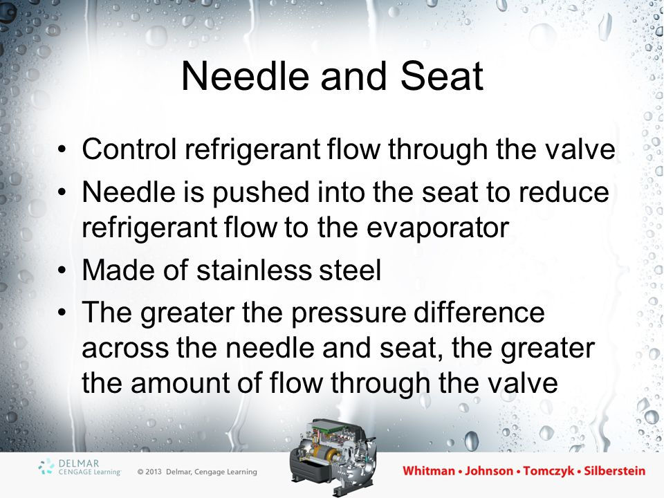 The Spring One of the valve's closing forces Acts to push the needle into the seat, causing the valve to close Spring pressure determines the evaporator superheat Spring tension can be field adjusted, but only EXPERIENCED field technicians should do adjustments on the valve