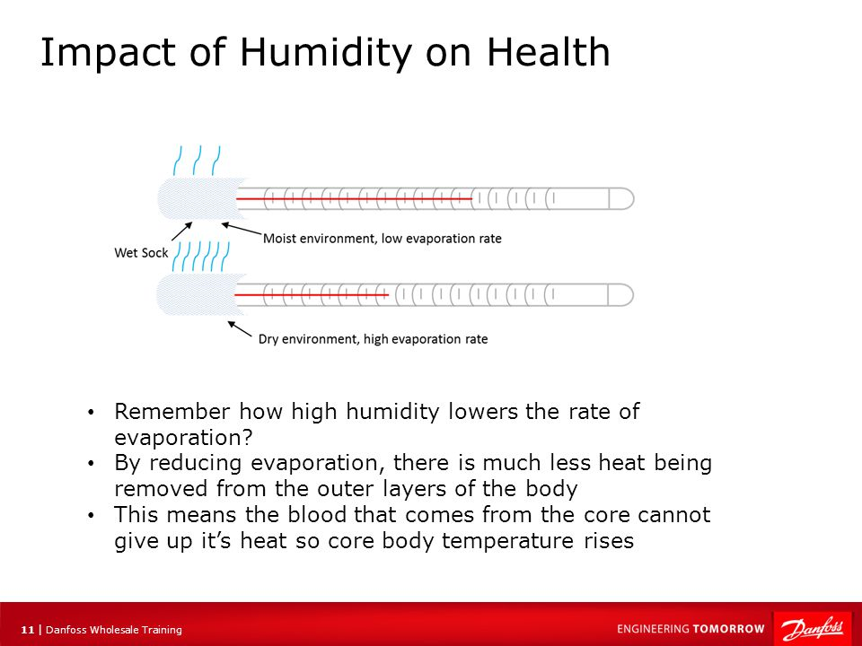 12 | Danfoss Wholesale Training Impact of Humidity on Health In the winter time, the outside air is cold and contains very little moisture, even when it is saturated Air that enters a dwelling and warms up has the capability to hold far more moisture and will dry out any open source of moisture This includes the sinus areas which rely on mucus to prevent the entering of viruses etc.