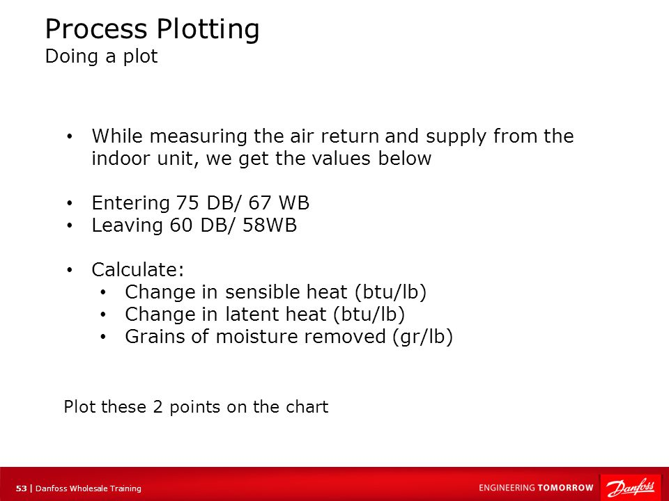 54 | Danfoss Wholesale Training Process Plotting Doing a plot Entering 75 DB/ 67 WB Leaving 60 DB/ 58WB Latent Sensible 31.6 btu/lb 29 btu/lb 25.1 btu/lb Total Heat Removed Grains removed 86-79 = 17 grains