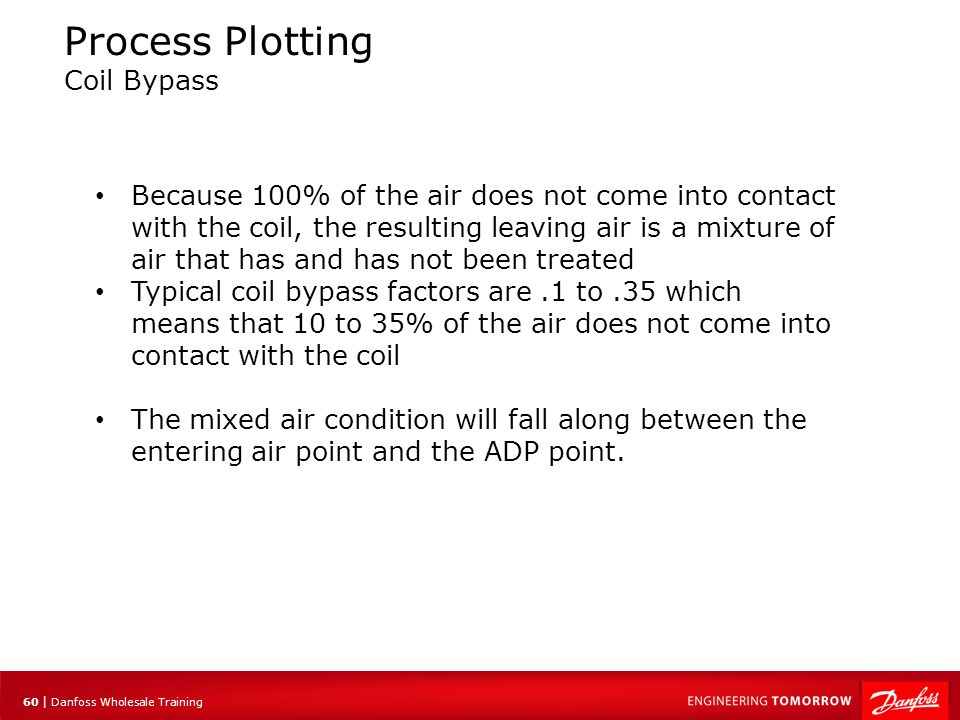 61 | Danfoss Wholesale Training Process Plotting Factors Affecting Coil Bypass Coils with a tighter fin spacing will have a lower bypass factor However, pressure drop across the coil also increases Another way to achieve a lower bypass is to reduce the velocity of the air At a lower velocity the air remains in contact with the coil for longer, greater mixing occurs and more moisture is removed