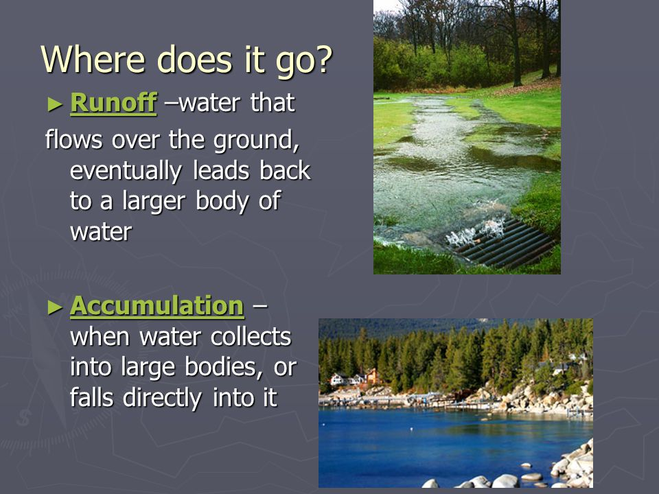 ► Infiltration – when water seeps (sinks) into the ground to be stored as groundwater ► Groundwater flow – when water moves while underground