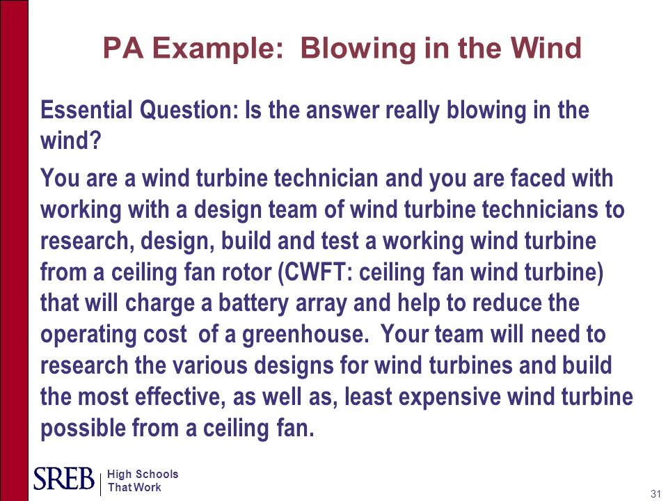 High Schools That Work Each member of the team must maintain a professional log of daily activity and each team will be responsible for a presentation of the procedures they followed in designing and building and subsequently testing their wind turbine.