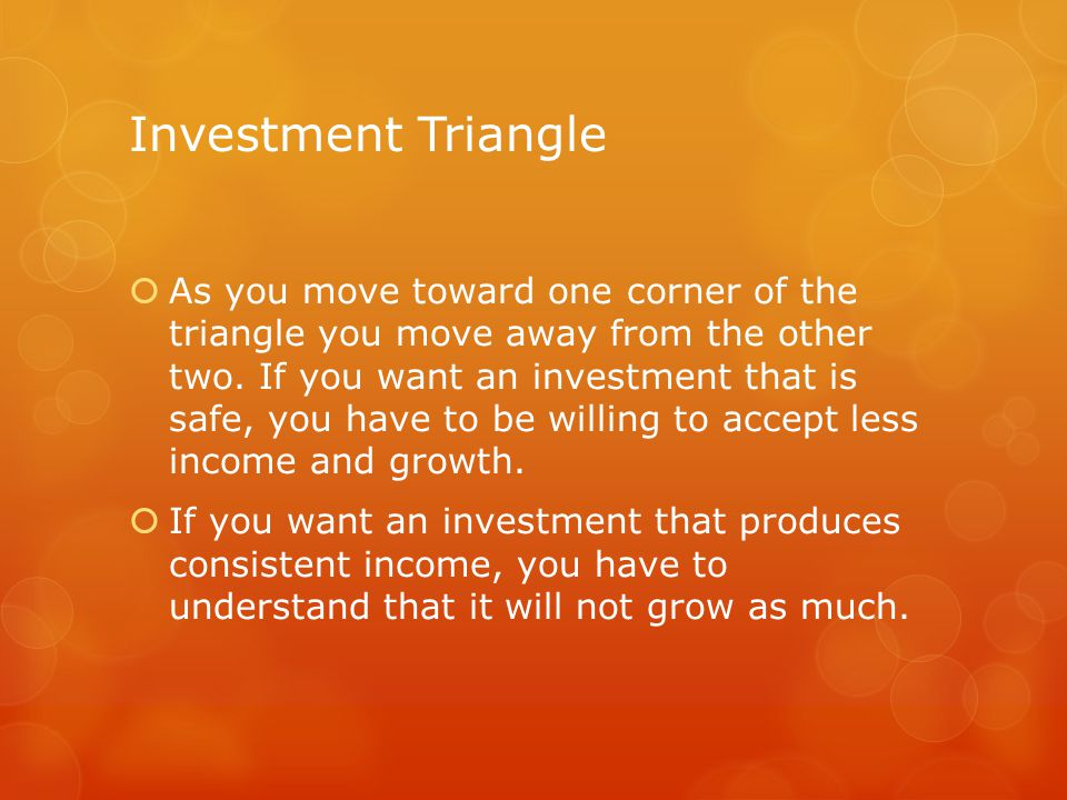 Investment Triangle  Consider stable companies like GE, AT&T, Walgreens vs.