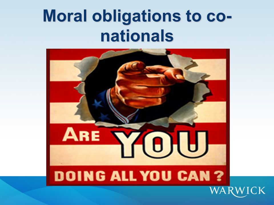 Special obligations Co-nationals must perform special duties to each other in order to maintain their relationship.