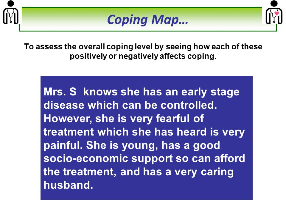 + ve effect on coping - ve effect on coping StagePrevious Knowledge Age SexSESFamily/Peer support Therefore, the counseling will focus on Clearing her myths about treatment, Importance of timely treatment since it is an early stage disease and Emphasizing on her age and favorable prognosis Family support & responsibility towards them Coping Map…
