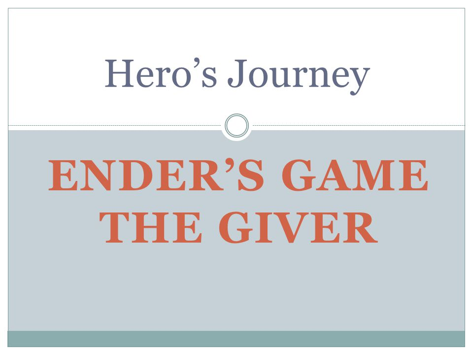 Ender's Game The Giver Ender was a third.He was different, very special.