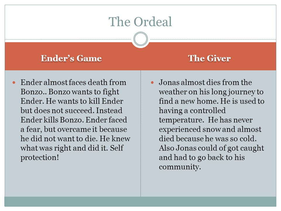 Ender's Game The Giver Ender's hard work paid off.