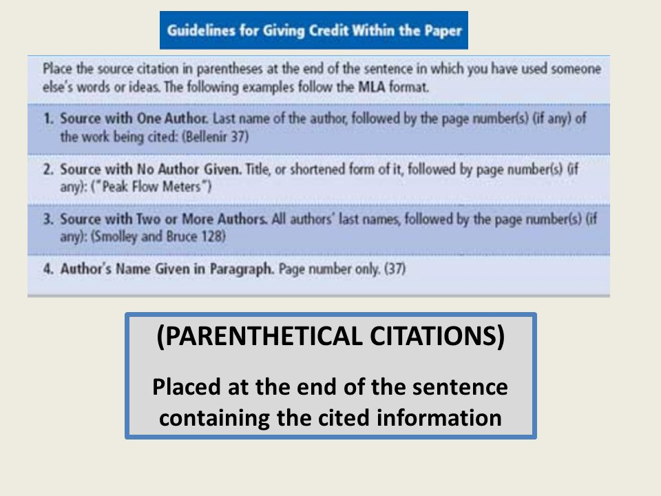 (PARENTHETICAL CITATIONS) Placed at the end of the sentence containing the cited information Contain details to allow others to check your sources Follow a specific format