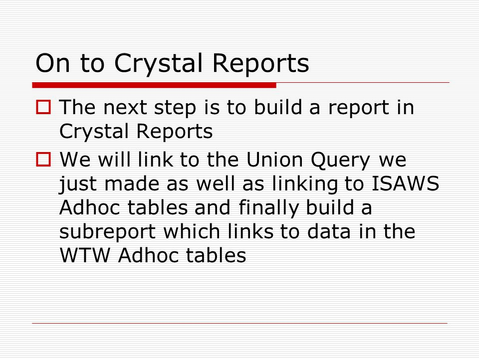 ISAWS Data  This Report uses the following Tables from ISAWS CASE_DETAILS CASE_INDIVIDUAL_PROG_DETAILS INDIVIDUAL_DETAILS INDIVIDUAL_WORK_REG_DETAILS SFU_CW_INDV_SANCTION_DETAILS