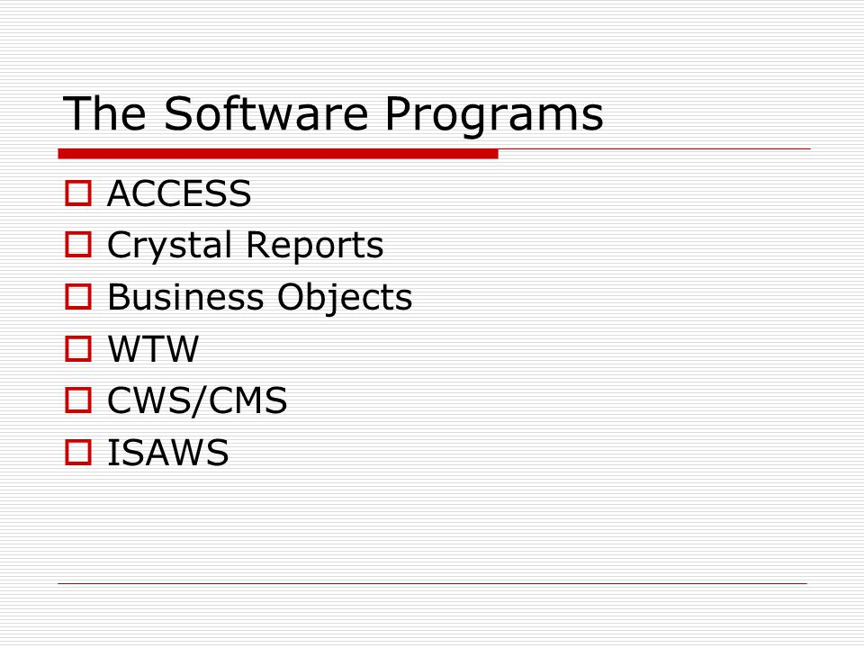 First Step  The first step is to use Business Objects to run a report in the CWS/CMS System  This will give you a table with all open CWS cases and the services in their active case plan