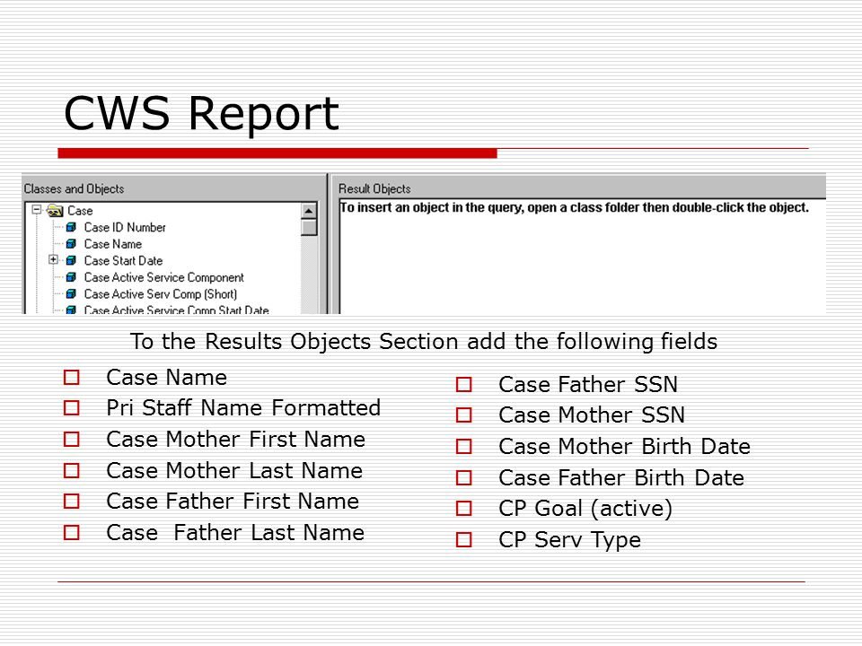 CWS Report Note: Get rid of this Report Title