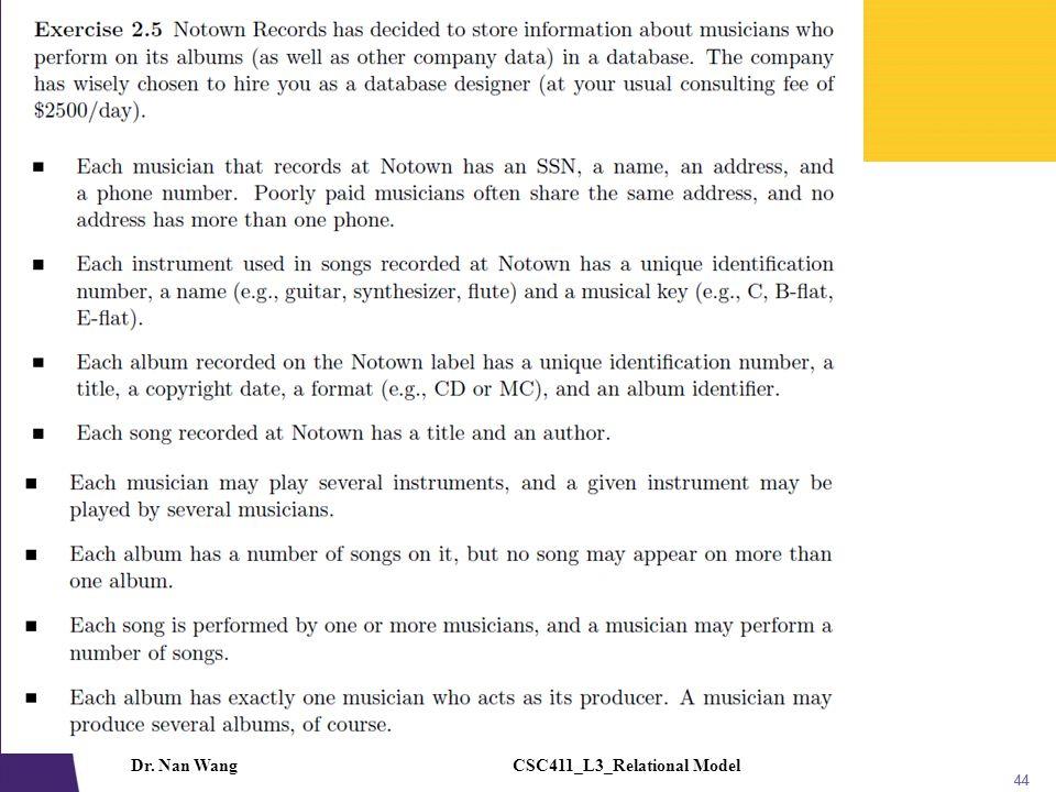 CSC411_L3_Relational ModelDr. Nan Wang 45