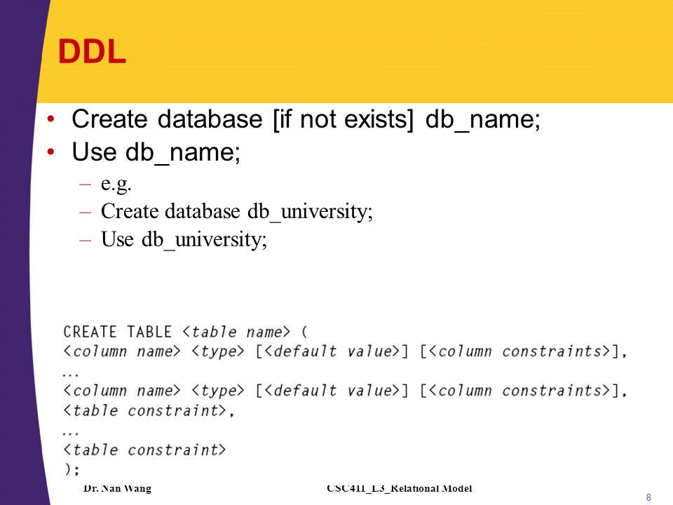 CSC411_L3_Relational ModelDr.Nan Wang 9 Creating Relations in SQL Creates the Students relation.