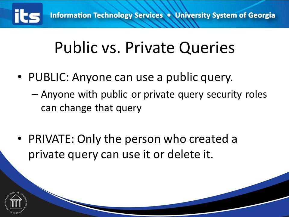 Public vs.Private Queries PUBLIC: Anyone can use a public query.