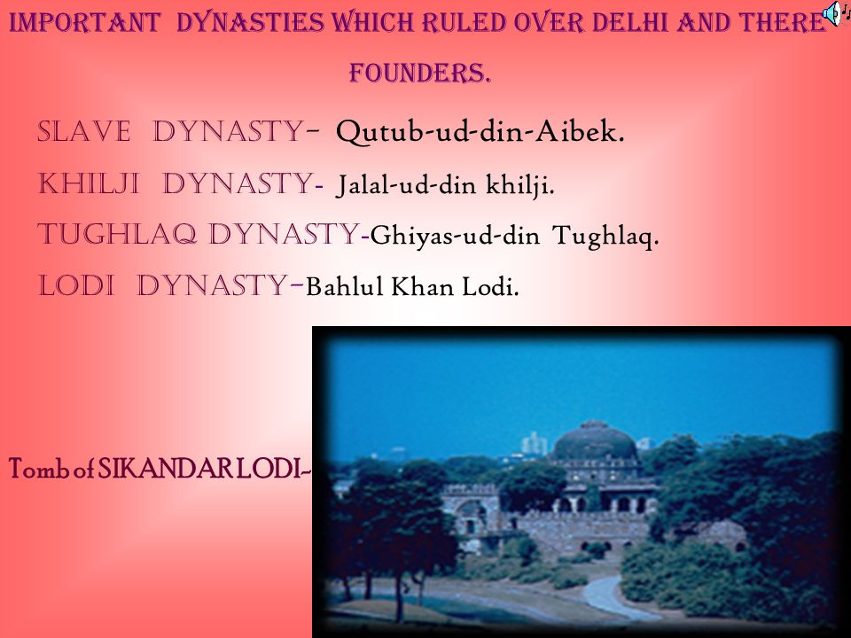 IMPORTANT DYNASTIES WHICH RULED OVER DELHI and there founders.