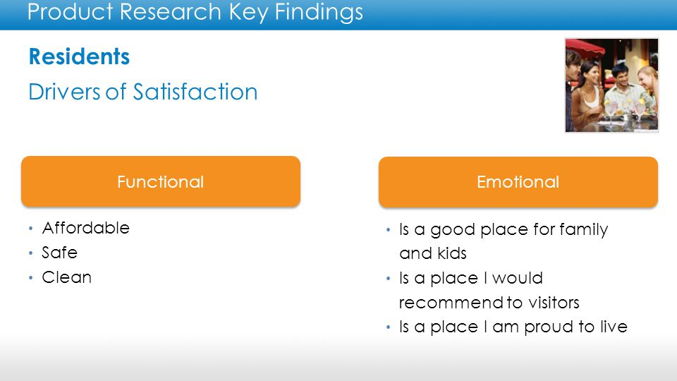 Residents Key Findings Product Research Key Findings Residents are the third most used resource for planning a leisure trip