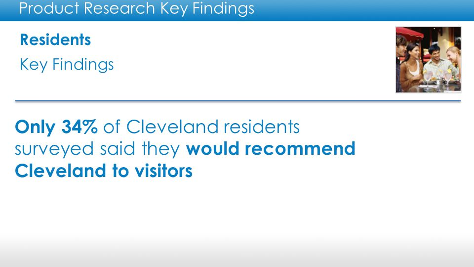 Residents Key Findings Product Research Key Findings Residents need to explore the new Cleveland attractions to recommend the city to visitors