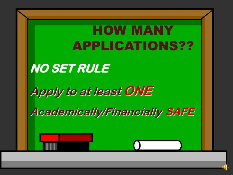 HOW MANY APPLICATIONS?? NO SET RULE Apply to at least ONE Academically/Financially SAFE