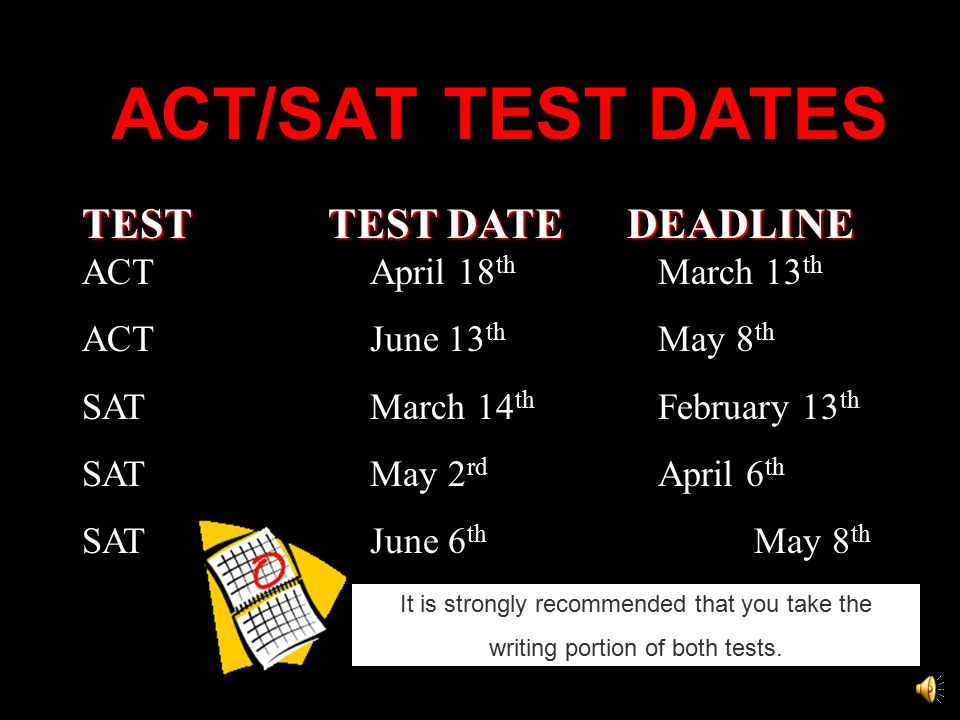 ACT/SAT TEST DATES TEST TEST DATE DEADLINE TEST TEST DATE DEADLINE ACT April 18 th March 13 th ACT June 13 th May 8 th SAT March 14 th February 13 th SATMay 2 rd April 6 th SATJune 6 th May 8 th It is strongly recommended that you take the writing portion of both tests.